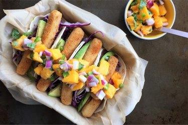Cajun Fish Sticks Tacos with Party Mango Salsa