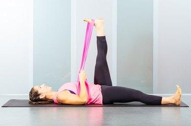 Proper form for resistance band hamstring stretch
