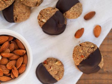 Dark Chocolate Dipped Chai Almond Cookies Baking Recipes That Don't Require Baking Soda, Baking Powder or Yeast