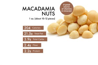 Custom graphic showing macadmia nuts nutrition.