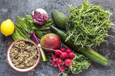 veggies on a table