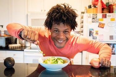 Errick enjoys a healthy meal.