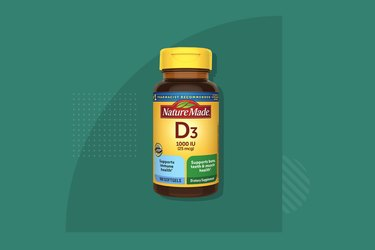 A bottle of Nature Made Vitamin D3 on a colorful background, one of the best vitamin D supplements