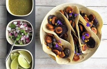 Purple Potato and Poultry Chorizo Tacos