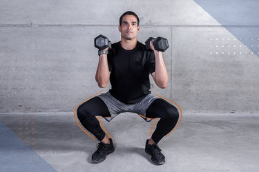 Man doing a weighted squat with dumbbells