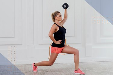 Woman doing a dumbbell reverse lunge