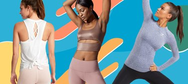 Women in workout clothes on a Graphic background