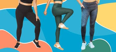 Women workout leggings on a graphic background