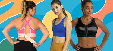 Women wearing Sports Bras on a graphic background