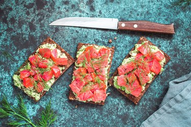 The Nordic diet foods salmon rye bread dill