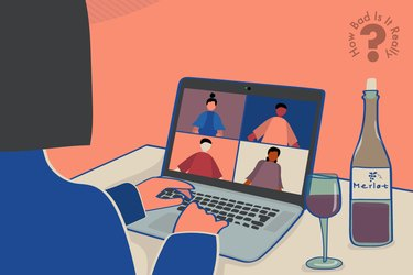 illustration of woman with wine bottle on video chat during coronavirus pandemic lockdown