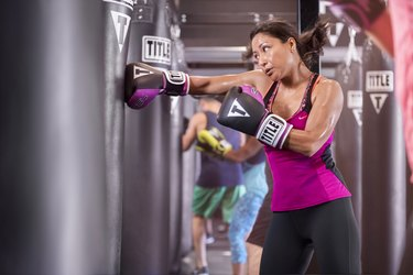 woman boxing workout fitness class