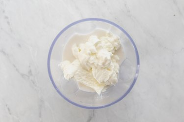 Coconut milk and yogurt  in blender