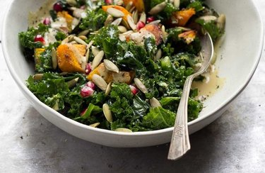 Wilted Kale Salad with Roasted Squash and Maple Dijon Dressing maple syrup recipes