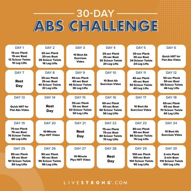 Free printable calendar for the 30-day abs challenge.