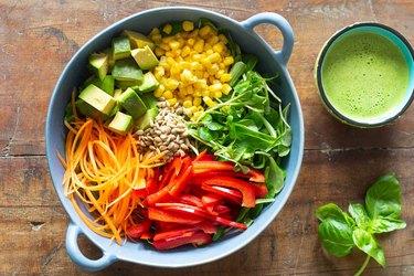 Summer salad recipes peppers corn carrots