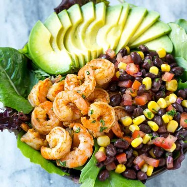Shrimp salad recipes corn avocado beans