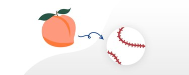 A peach compared to the size of a baseball