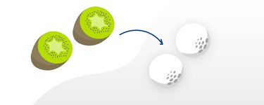 Kiwifruit compared to the size of a golf ball