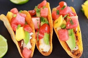Coconut Lime Mahi Mahi Tacos with Tequila Soaked Watermelon Salsa