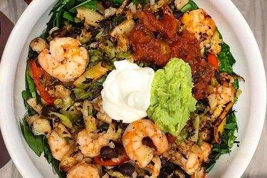 Trifecta veggie bowl with shrimp