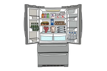 refrigerator filled with food and drinks