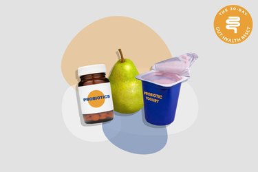 bottle of probiotics supplements, yogurt and pear on gray background with colorful shapes