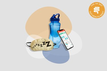 water bottle and eye mask for sleep with smartphone showing MyPlate app on gray background with colorful shapes