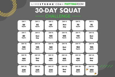 Calendar for the LIVESTRONG.com and Fhitting Room 30-Day Squat Challenge