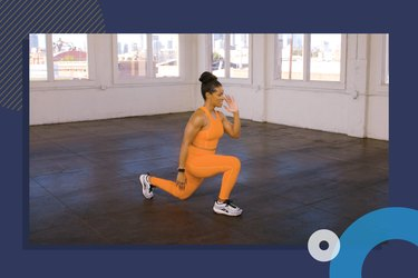 still photo from at-home mobility workout video of Ingrid Clay performing a lunge on blue background