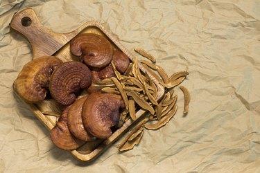 ganoderma (reishi mushroom) on a wooden table