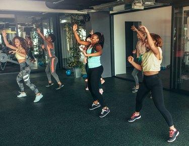 women in dance cardio class