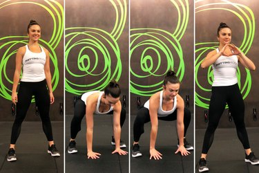 Squat thrusts exercise for HIIT body weight workout