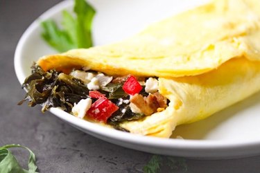 Red Peppers and Feta Collard Green Omelet collard greens recipe