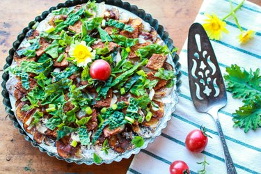 Potato Crust Pizza with Tempeh and Greens collard greens recipes