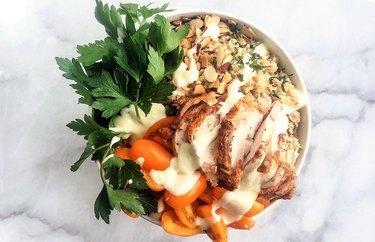 Middle Eastern Chicken Breakfast Superfood Bowl rotisserie chicken dinner recipes