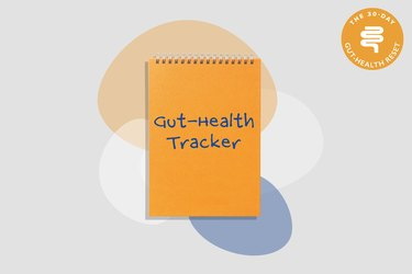 illustration of orange gut-health tracker notebook on gray background with colorful shapes
