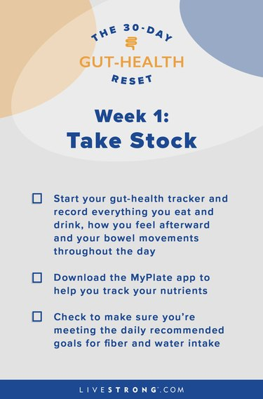illustration of checklist for goals of week 1 of the 30-day gut-health reset
