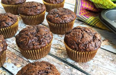 Double Chocolate Zucchini Muffins Cinnamon Desserts