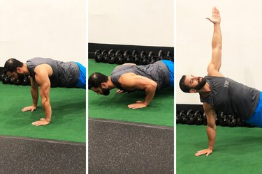 Man Doing T Push-Up During 20-Minute HIIT Workout