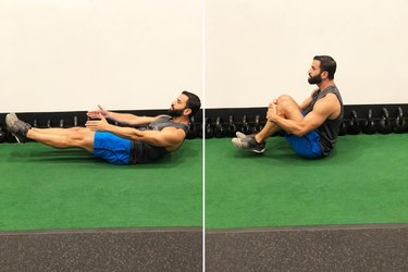 Man Doing Knee Tuck Crunch During 20-Minute HIIT Workout