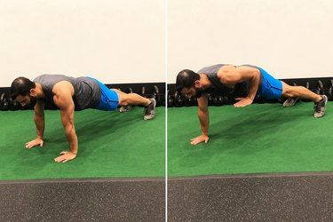 Man Doing Body-Weight Plank Row During 20-Minute HIIT Workout