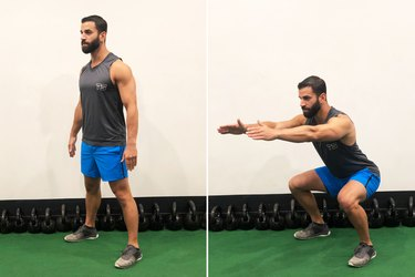 Man Doing Fast Body-Weight Squat During 20-Minute HIIT workout