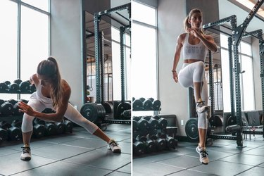 Woman doing Side Lunge to Plyo High Knee Jump during a HIIT cardio workout