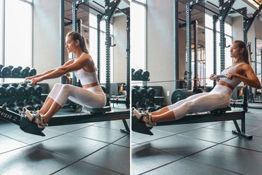 Woman using the rowing machine during a HIIT cardio workout