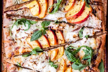 peach ricotta pizza slices