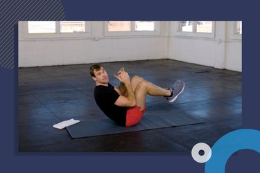 photo of Training Mate founder Luke Milton. doing ab exercise during 10-minute core workout video