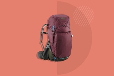 maroon REI Co-Op Traverse Backpacking 35L Pack on red background