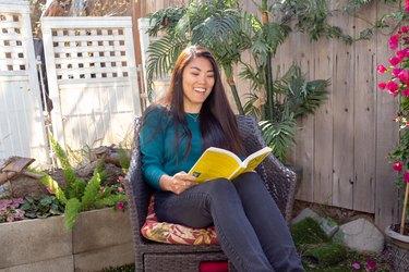 Kristina reads a book