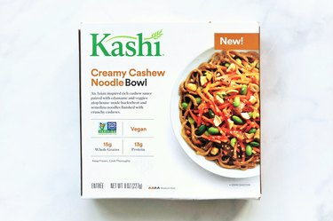 Kashi Creamy Cashew Noodle Bowl is a frozen entrée with its key protein source coming from non-GMO edamame.